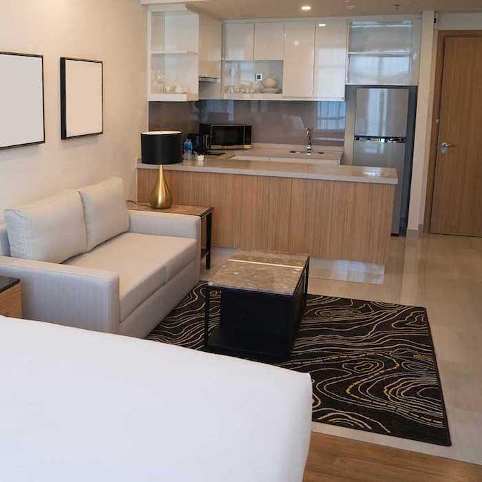 small but modern studio-size condo unit.
