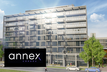 Rendering of The Annex Condos in Calgary with logo overlay.