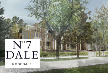 Rendering of No. 7 Dale Condos with logo overlay.