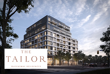 Rendering of The Tailor Queensway Residences with logo overlay.