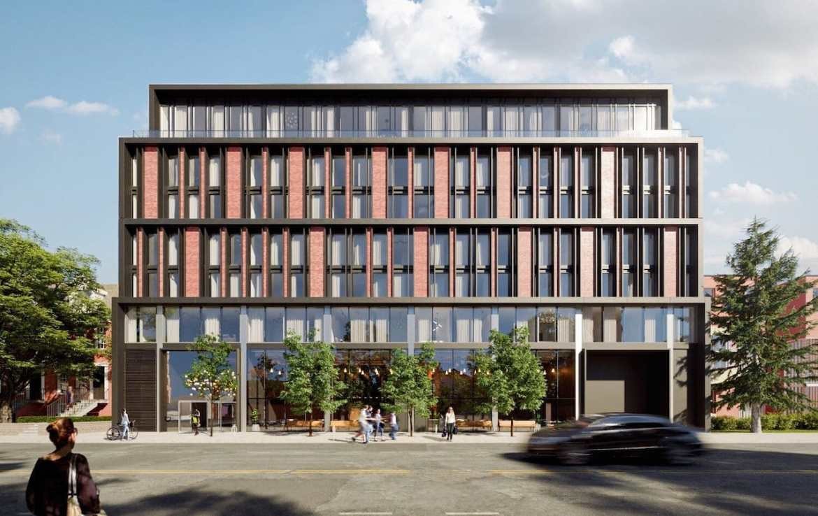 Front-facing exterior rendering of 1414 Bayview Condos in Toronto.