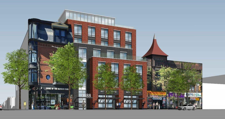 Exterior rendering of 1488 Queen Street West Condos in Toronto