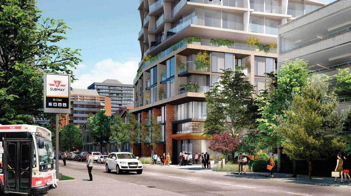 Rendering of 29-39 Pleasant Boulevard Condos by TTC access.