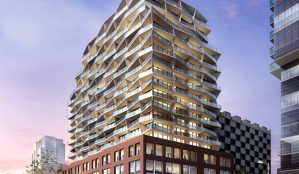 Partial rendering of 663 King Street West Condos at dusk.
