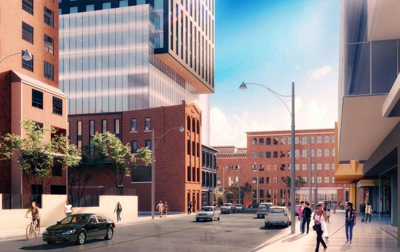 Podium rendering of 90 Queen Street East Condos.