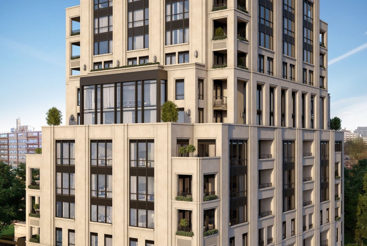 Exterior rendering of One Forest Hill Condos.