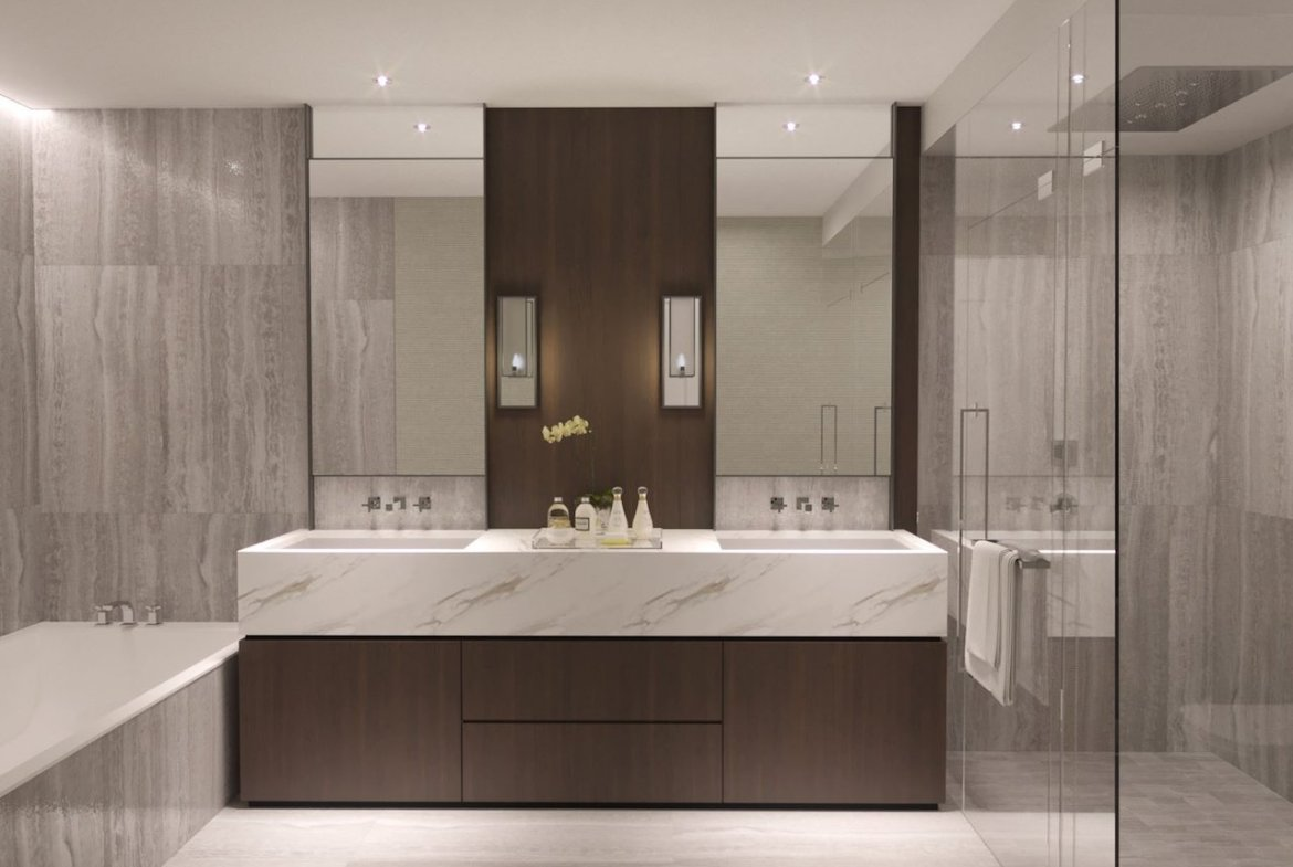 Full bathroom rendering of One Forest Hill Condos.