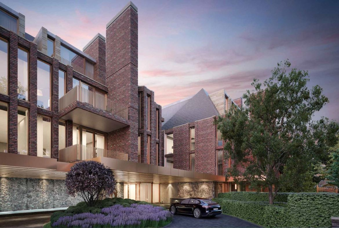 Rendering of No. 7 Rosedale Condos exterior entrance at dusk.