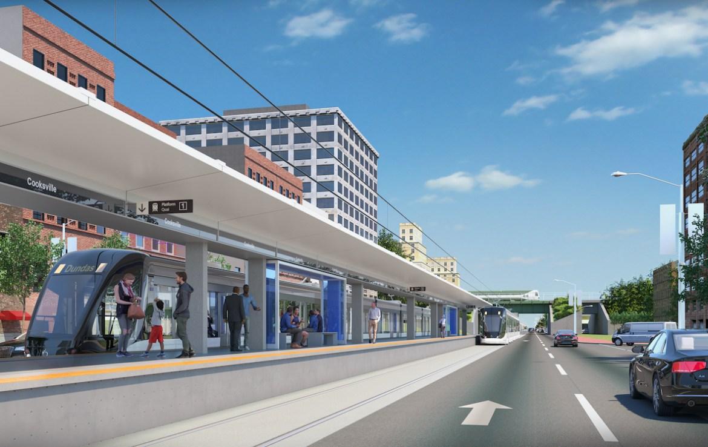 Rendering of ARTFORM Condos LRT Cooksville Mississauga platform.