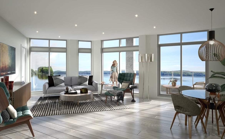 Interior living room of rendering of Lakeside Muskoka Condos