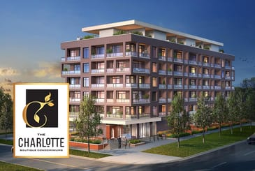 Rendering of The Charlotte Boutique Condos with logo overlay.