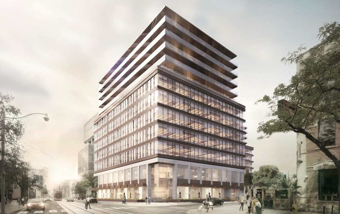 Side-view exterior rendering of 5445 King West Condos in Toronto.