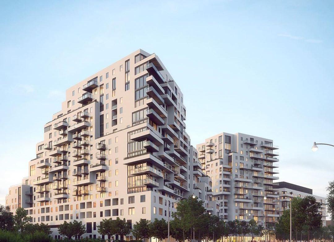 Exterior rendering of Queen & Ashbridge Condos in Toronto.