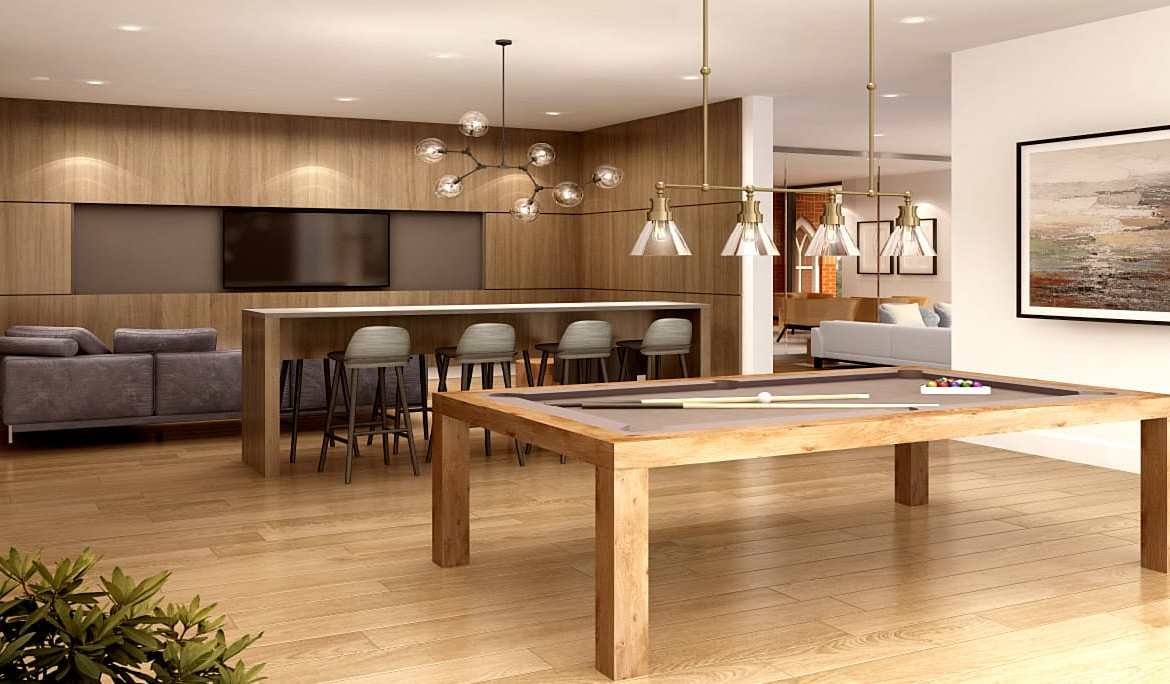 Rendering of The Charlotte Boutique Condos billiards room.