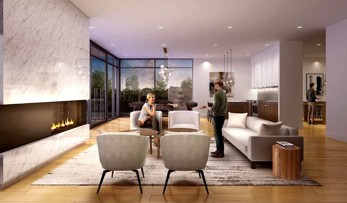 Rendering of The Charlotte Boutique Condos party room with lounge.