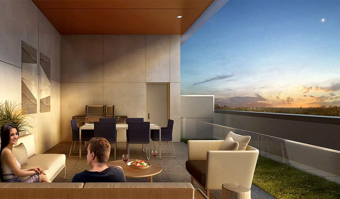 Rendering of The Charlotte Boutique Condos patio terrace.