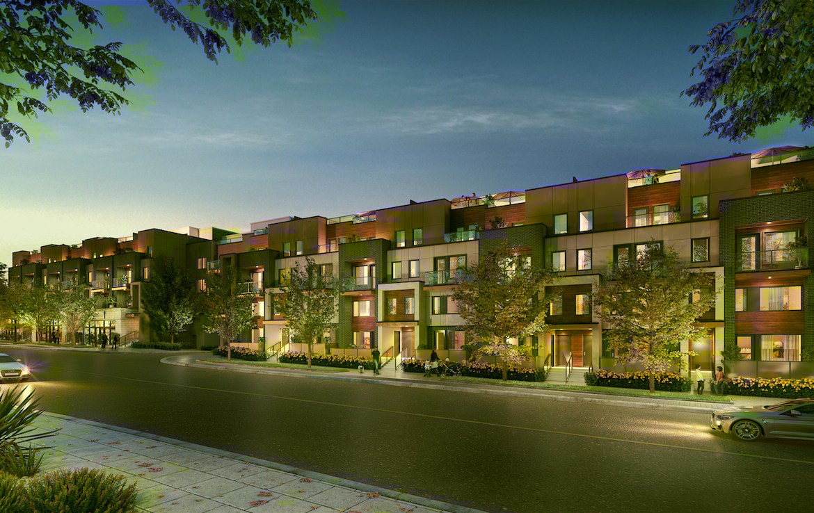 Rendering of Amsterdam Urban Towns O'Connor Drive exterior at night.