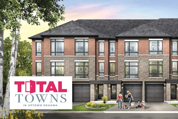 Exterior rendering of Total Towns in Uptown Oshawa with logo overlay.