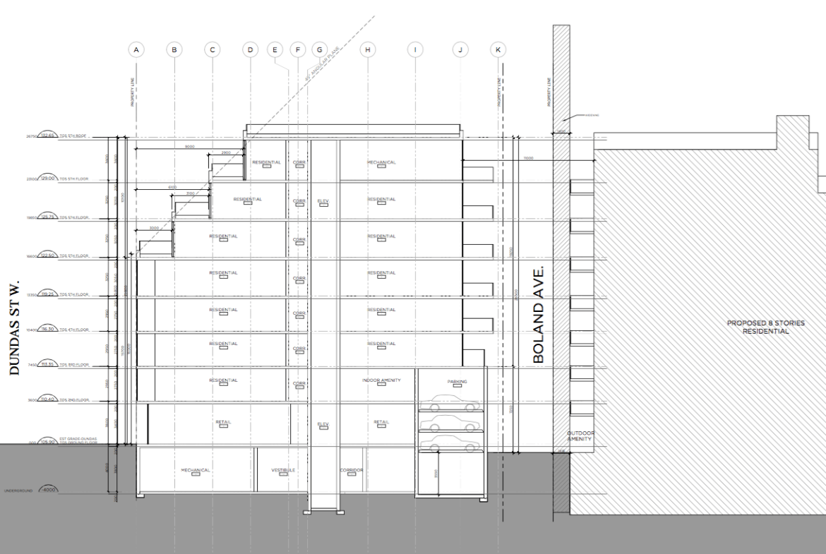 Architectural plan of 1494 Dundas Street West Condos by RAW Design for Block Developments.