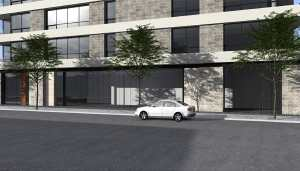 Rendering of 847 Kingston Road Condos building streetscape and exterior.