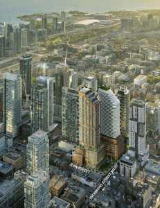 Aarial rendering of RioCan Hall Condos and surrounding area.