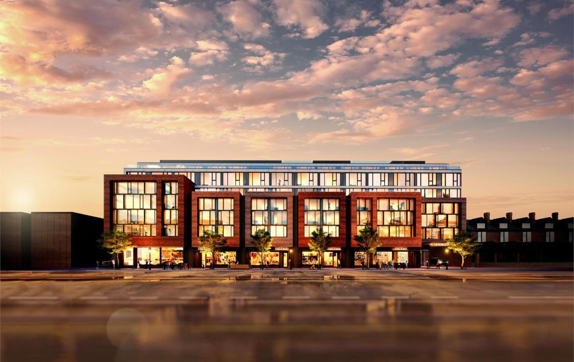Exterior rendering of The Carvalo on College Condos in the evening.