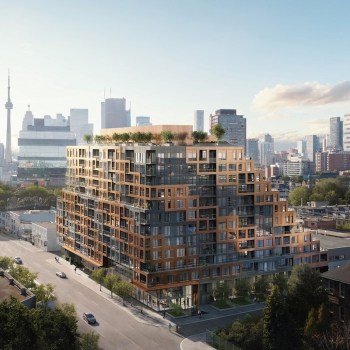 Exterior rendering of 28 Eastern Condos in Toronto's Corktown Neighbourhood.
