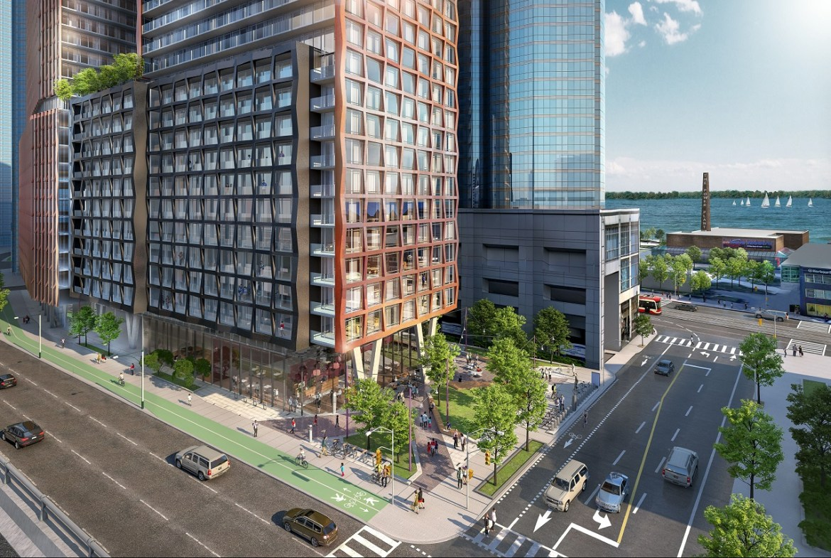 200 Queens Quay West Condos main intersection and building podium.