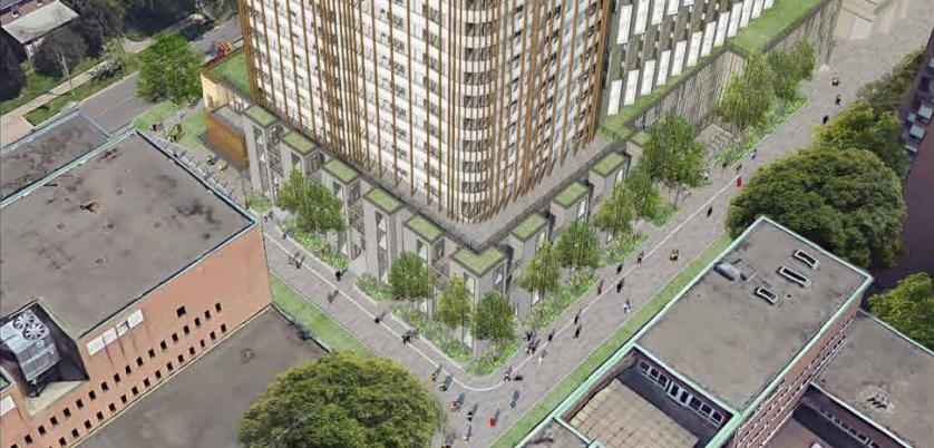 Aerial street-view and partial building rendering of 95 St Joseph Condos in Toronto.