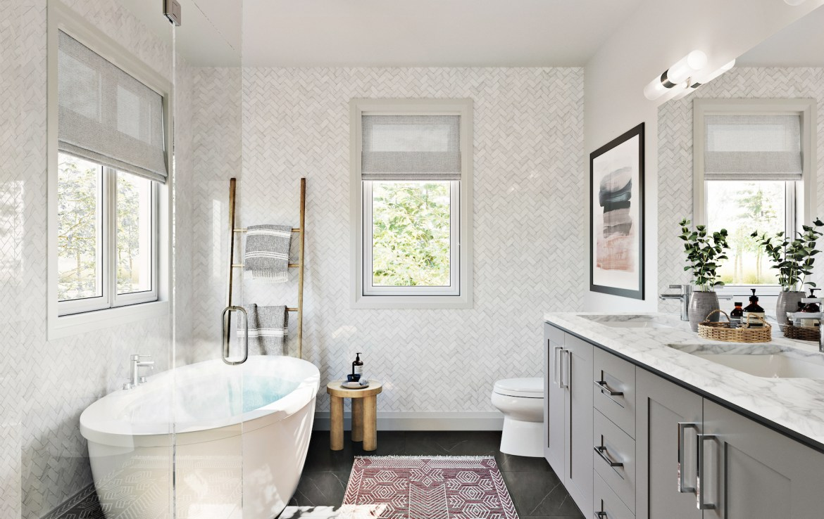 Rendering of Community Crafted Towns suite bathroom.