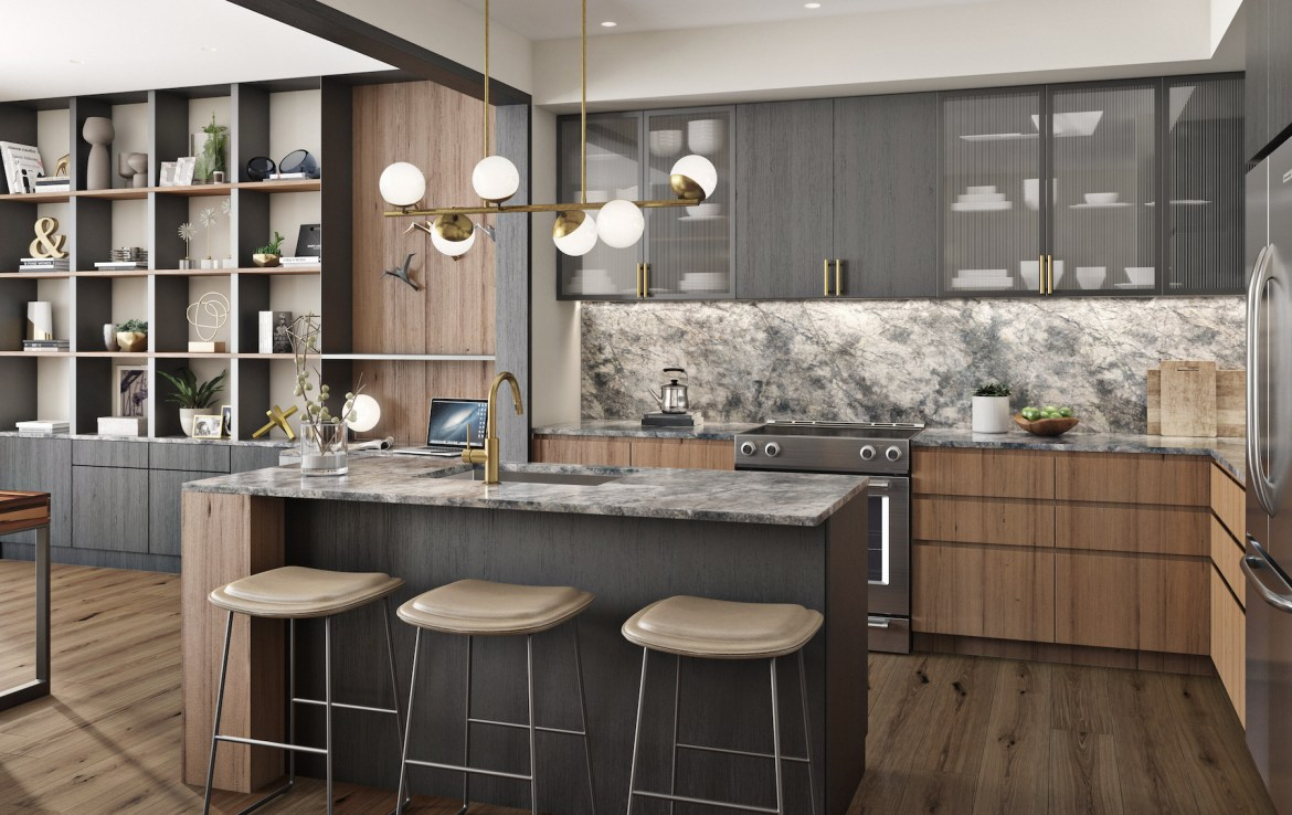 Rendering of Community Crafted Towns suite kitchen.