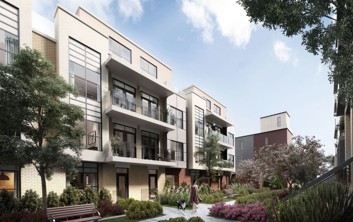 Rendering of Harrington Residences building exterior and courtyard.