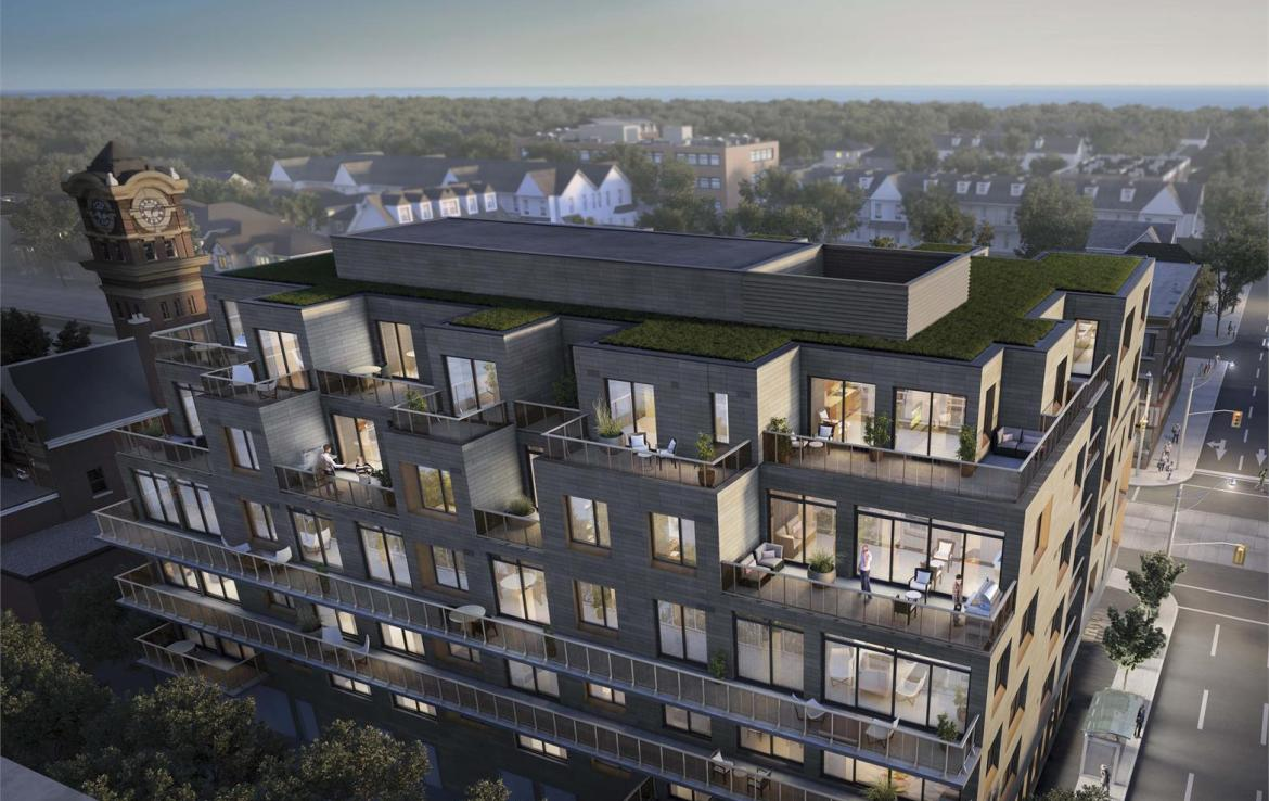 Rendering of Heartwood the Beach Condos aerial exterior