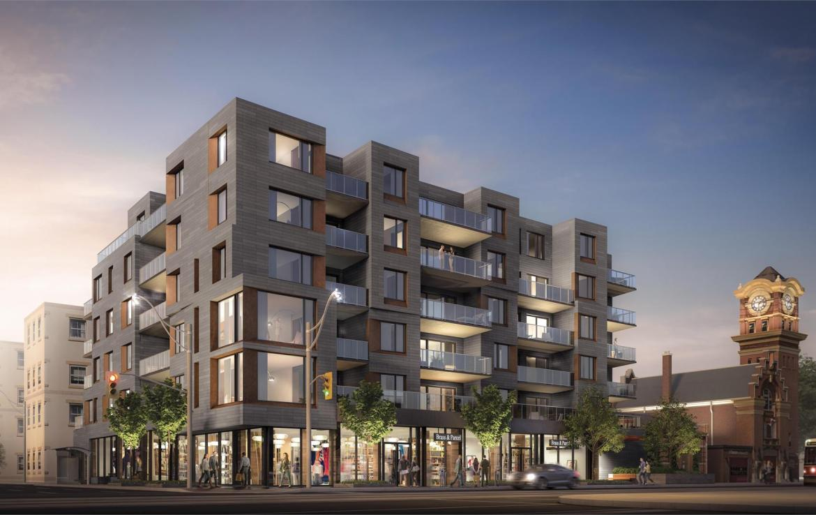 Rendering of Heartwood the Beach Condos exterior and streetscape