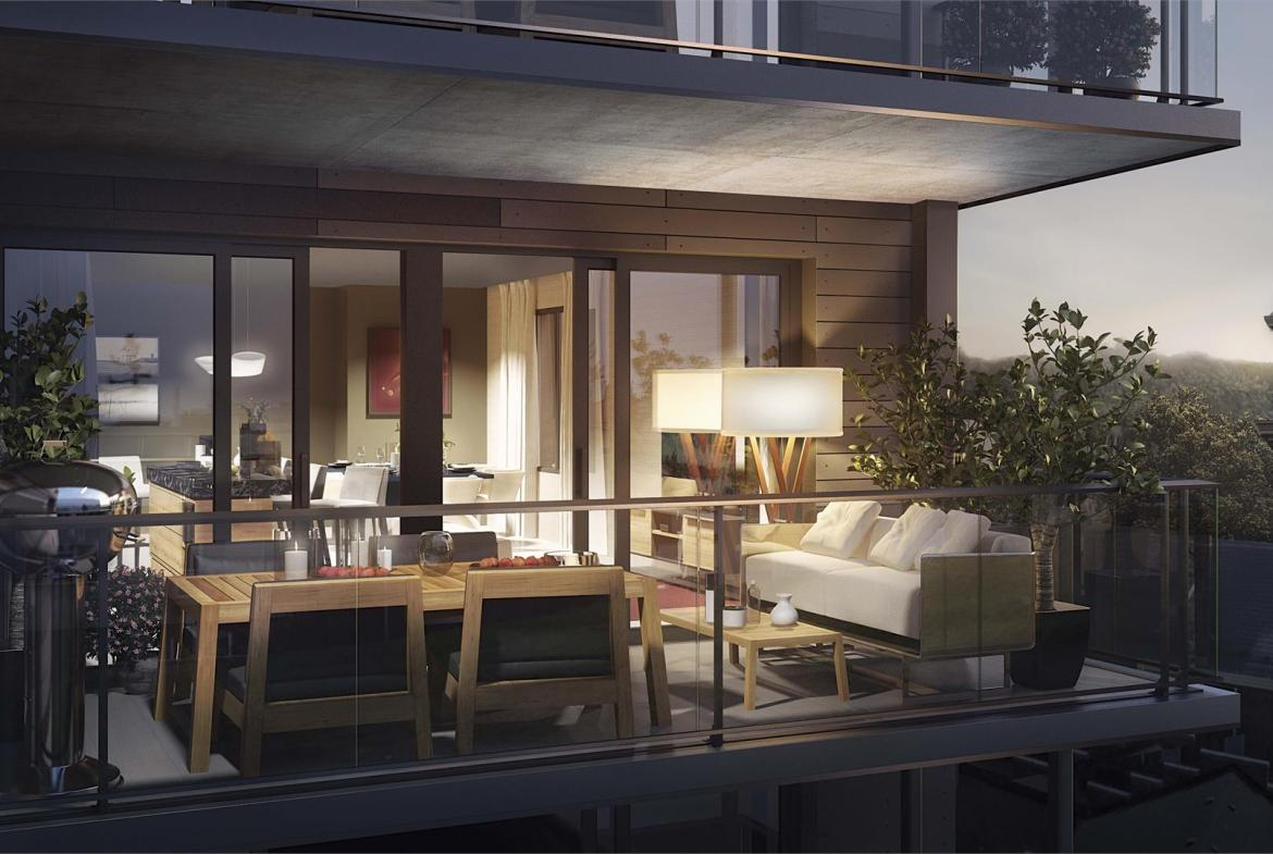 Rendering of Heartwood the Beach Condos suite balcony