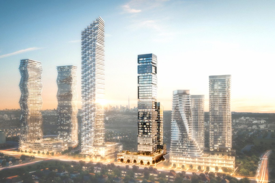 Rendering of M-City Condo Community with M4 Condos highlighted.