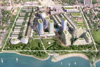 Aerial of Brightwater Community in Port Credit, Mississauga, Ontario.