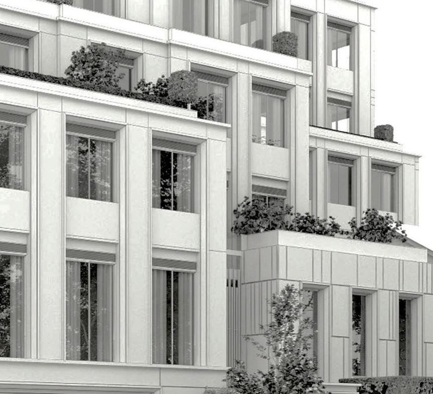 Exterior rendering of 10 Prince Arthur Condos siding with patios and greenery.