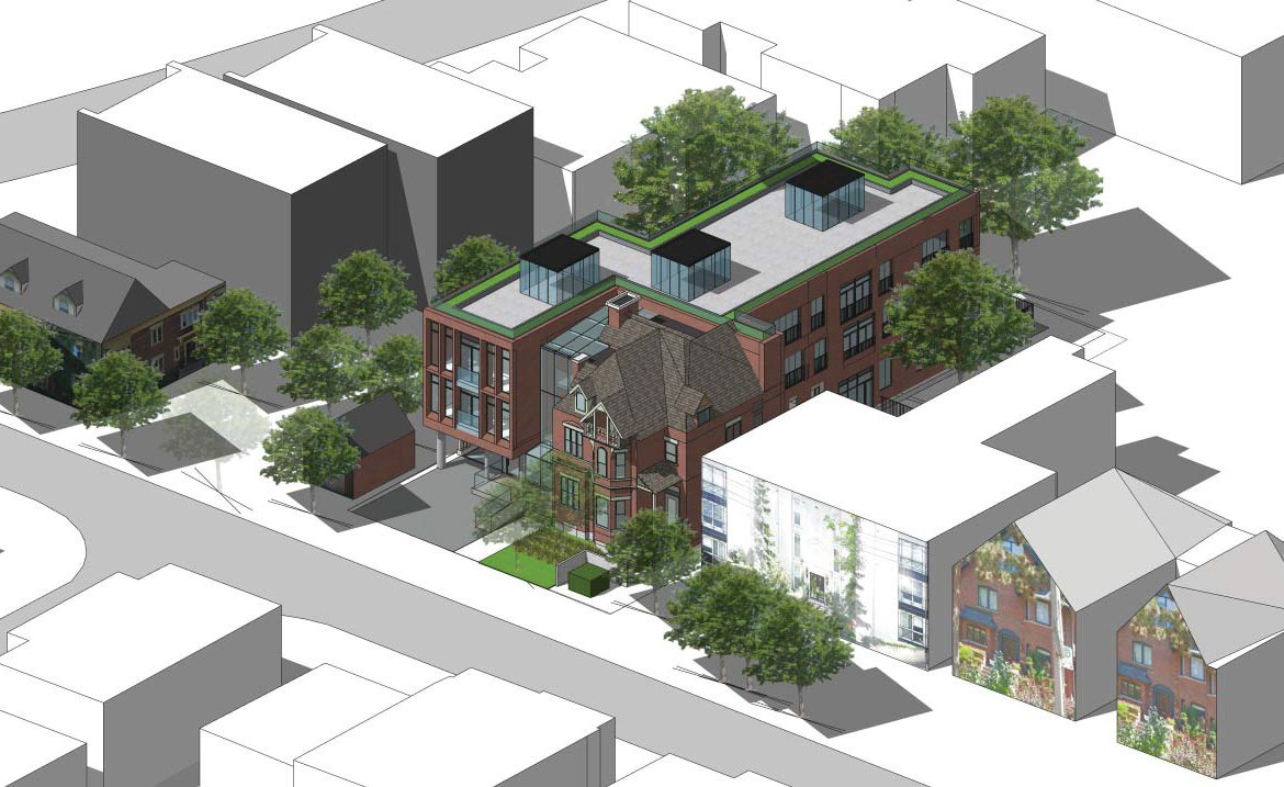 Aerial side-front rendering of 101 Heath Street Condos.