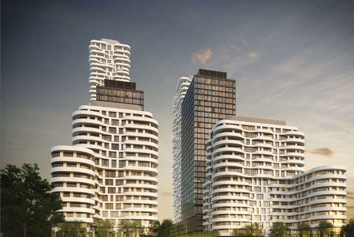 Exterior rendering of 180 Steeles Avenue West Condos designed by Core Architects