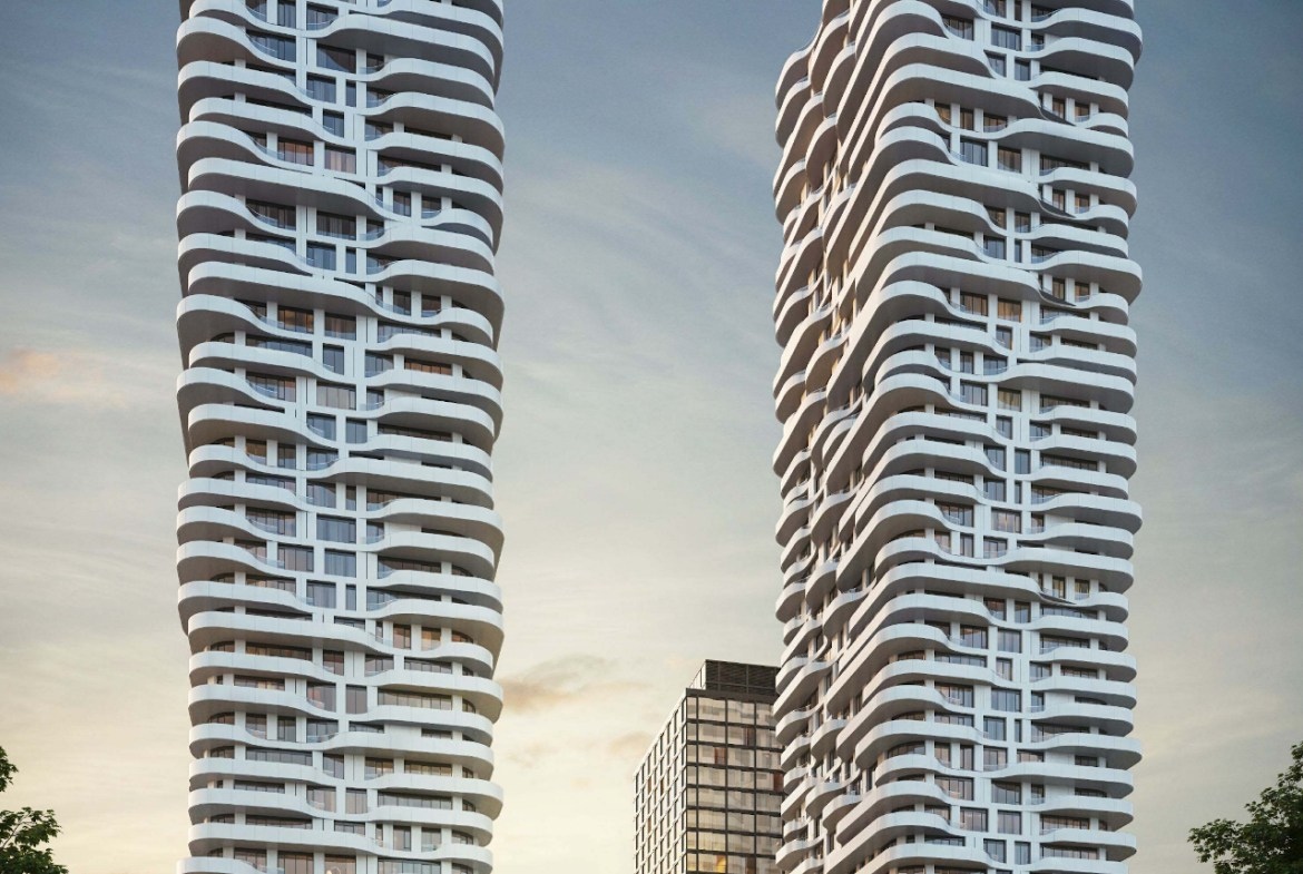Rendering of 2 tallest towers at 180 Steeles Avenue West Condos