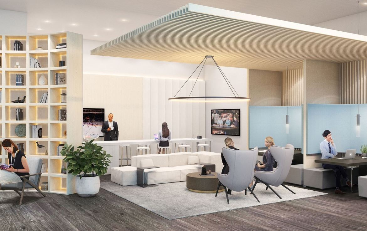Rendering of 181 East Condos co-working space.