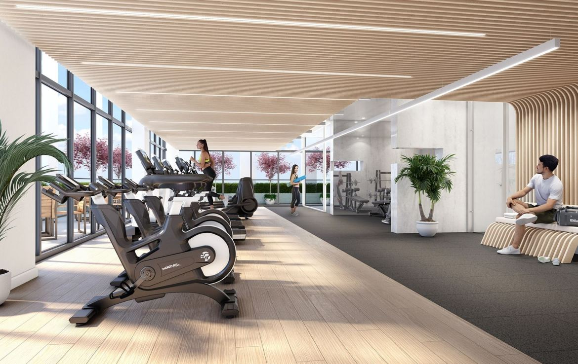 Rendering of 181 East Condos fitness centre.