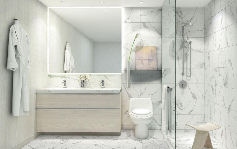 Rendering of 181 East Condos suite interior bathroom.