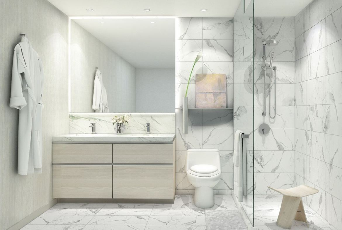 Rendering of 181 East Condos suite interior bathroom.