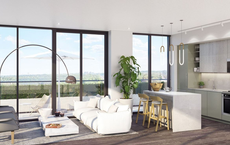 Rendering of 181 East Condos suite interior living area.