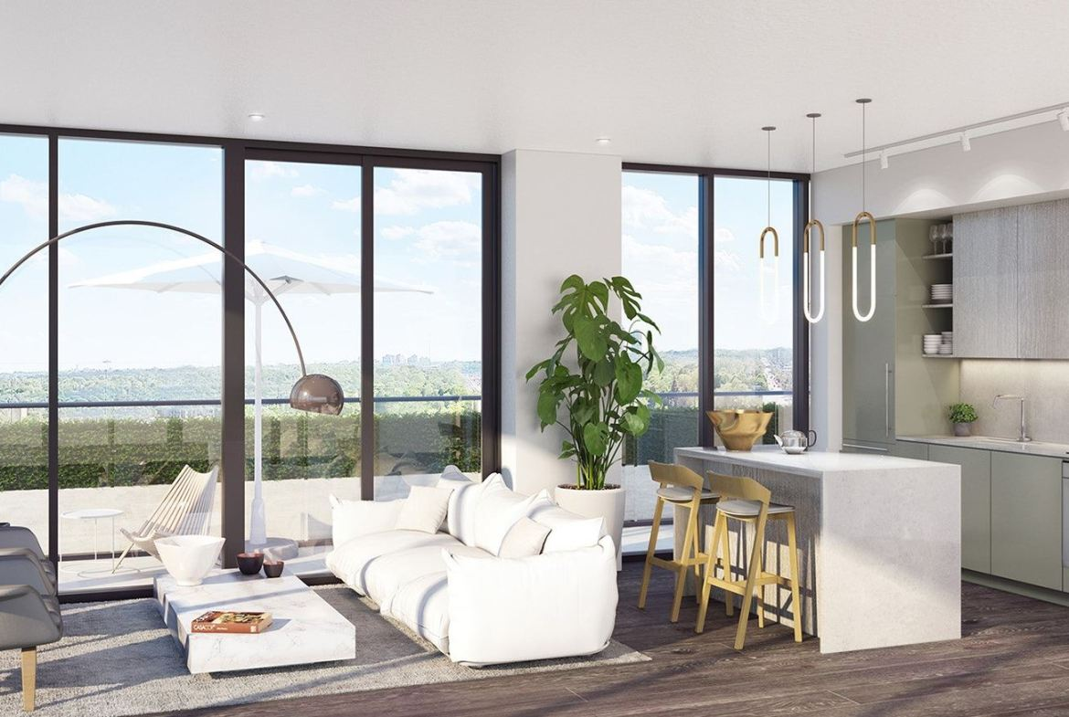 Rendering of 181 East Condos suite interior living area.