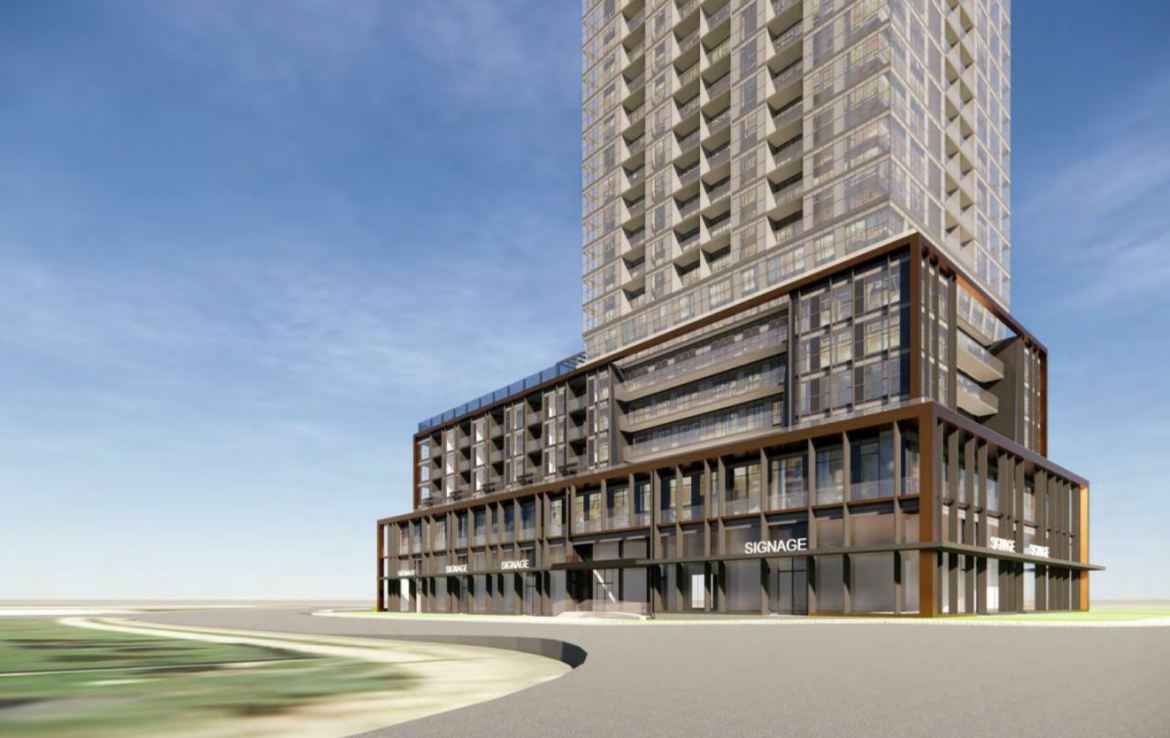 Rendering of 1910 Eglinton East Condos exterior and streetscape.
