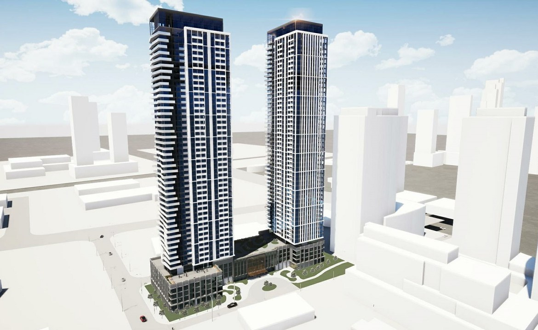 Exterior rendering of 216 Doughton Condos and surrounding street area.