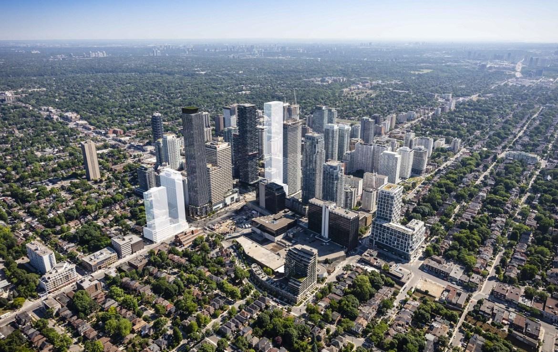Aerial rendering of 36 Eglinton West Condos in Toronto.